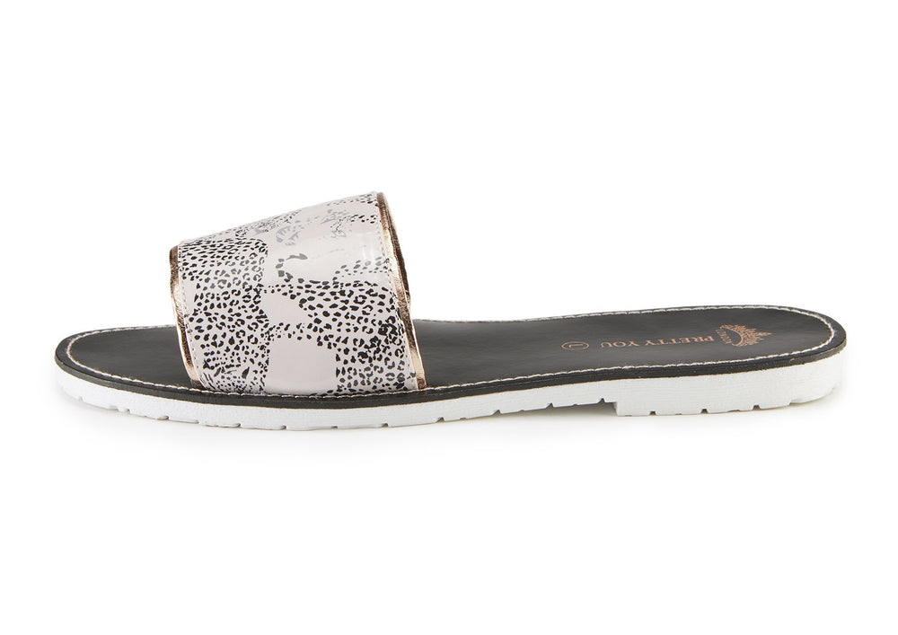 Sandals Womens Leopard Printed Slide and Clutch Set from Pretty You London