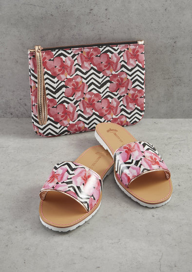 Sandals Zig Zag Printed Slide & Clutch Set from Pretty You London