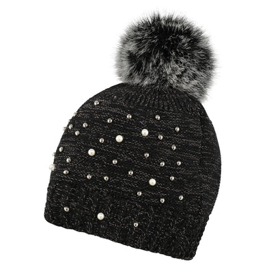 Accessories Black Embellished Beanie & Handwarmer Set from Pretty You London