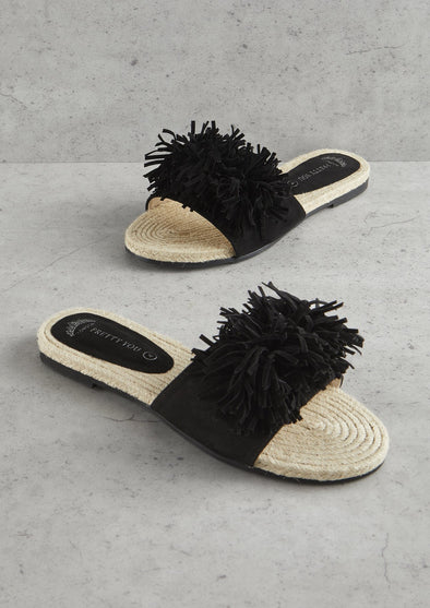 Womens Black Tassel Sandal
