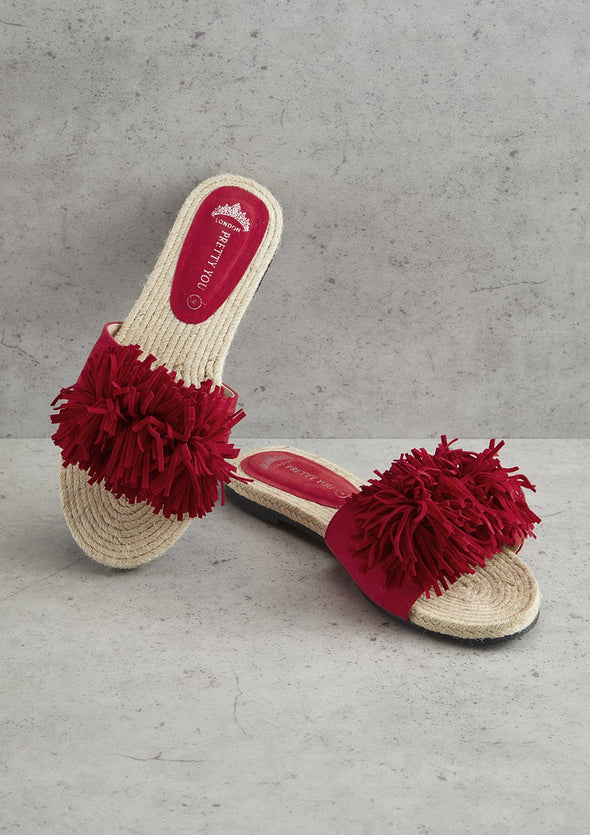 Red Tassel Sandal