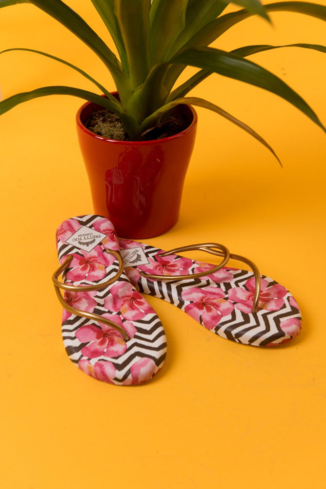 Sandals Zig Zag Printed Flip Flops from Pretty You London