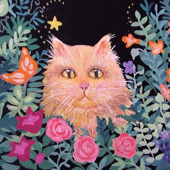 Orange Tabby in the Garden - Original Artwork Card