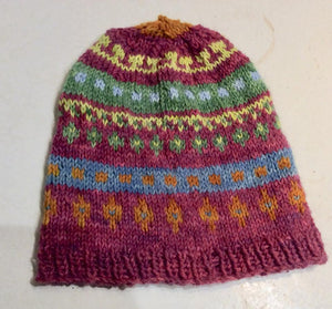 Red Fair Isle Alpaca Knit Ski Hat