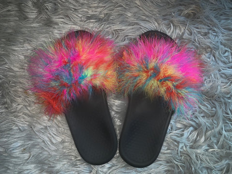 Rainbow Fur Slides