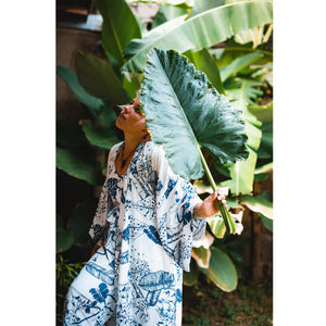 Blue Tones Bali Jungle Kimono in Tencel