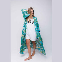 Load image into Gallery viewer, Tropical Mess Kimono - Emerald