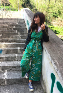 Tropical Mess Jumpsuit - Emerald - 100% tencel