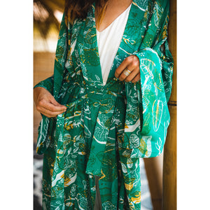 Tropical Mess Kimono - Emerald in Silk