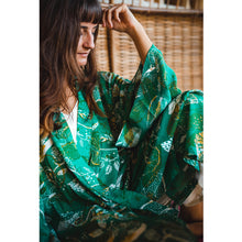Load image into Gallery viewer, Tropical Mess Kimono - Emerald in Silk