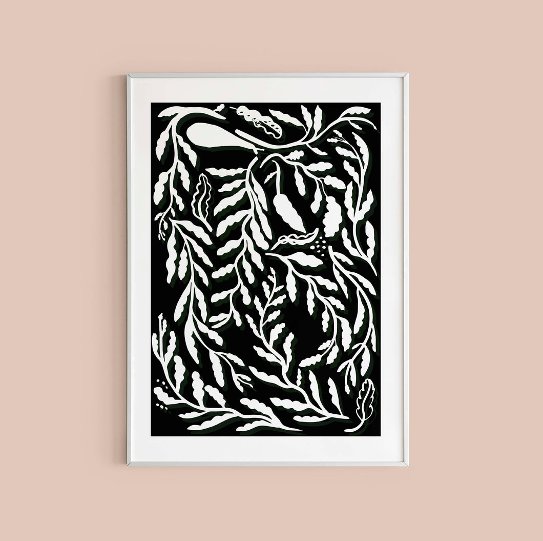 Funky Leaves Print - Black and White