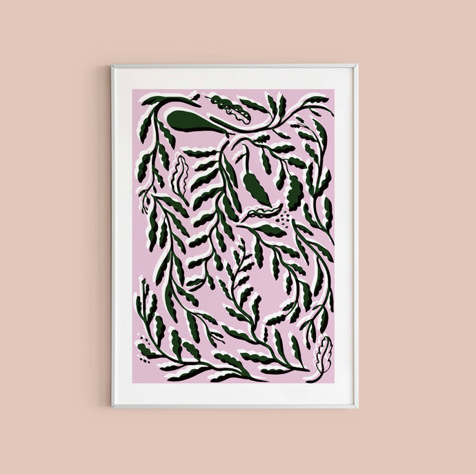Funky Leaves Print - Pink