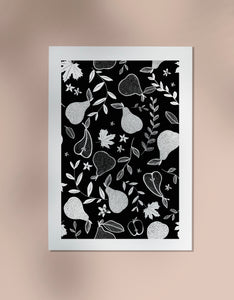 Pear Print - Black and White