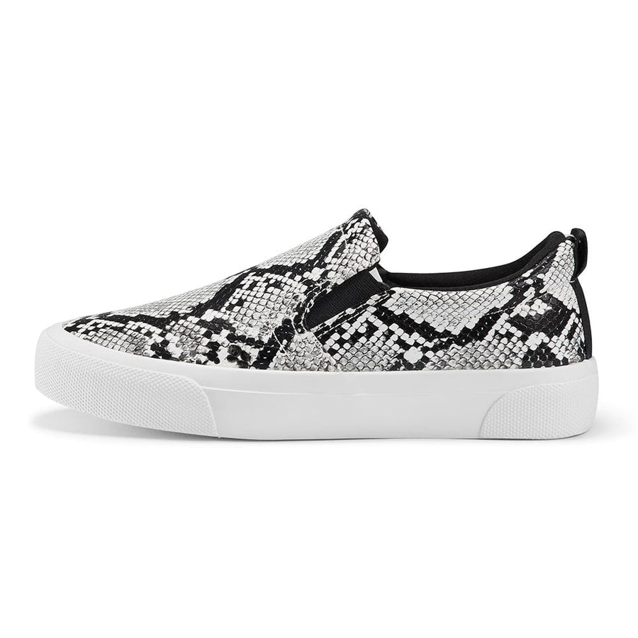 Sneakers Classic Slip on Flats Walking Sports Casual Shoes Black Python