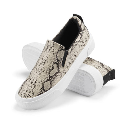 Sneakers Classic Slip on Flats Walking Sports Casual Shoes Beige Python
