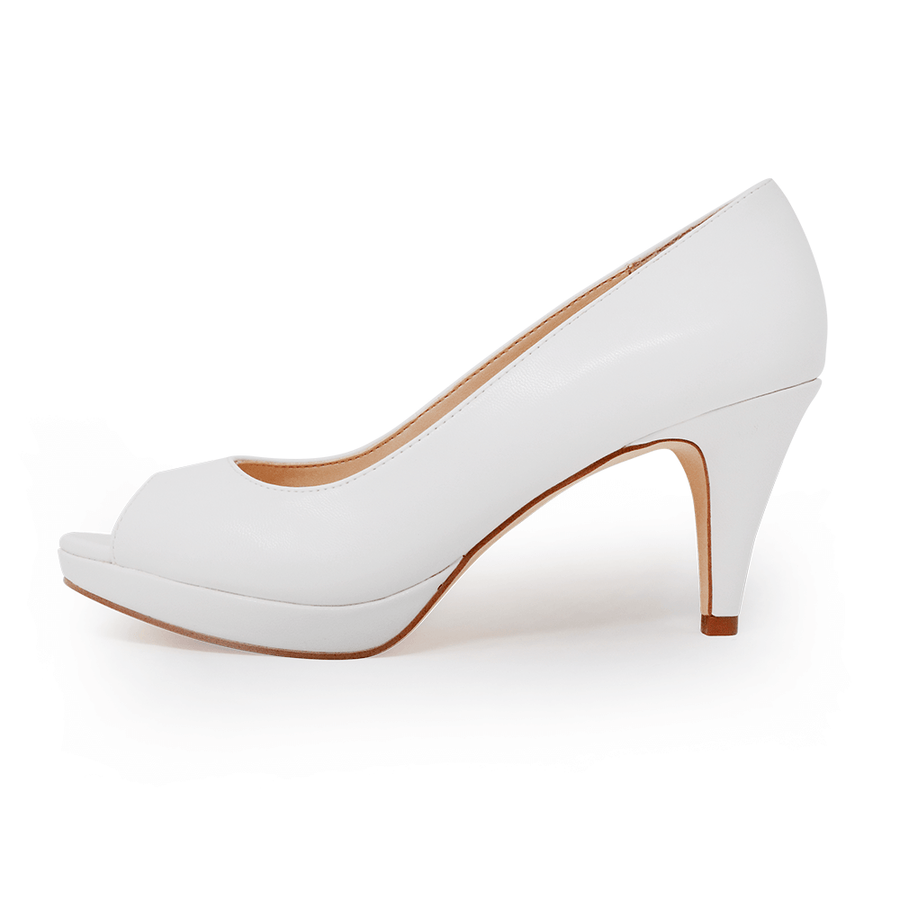 Asteria Peep Toe Pump White
