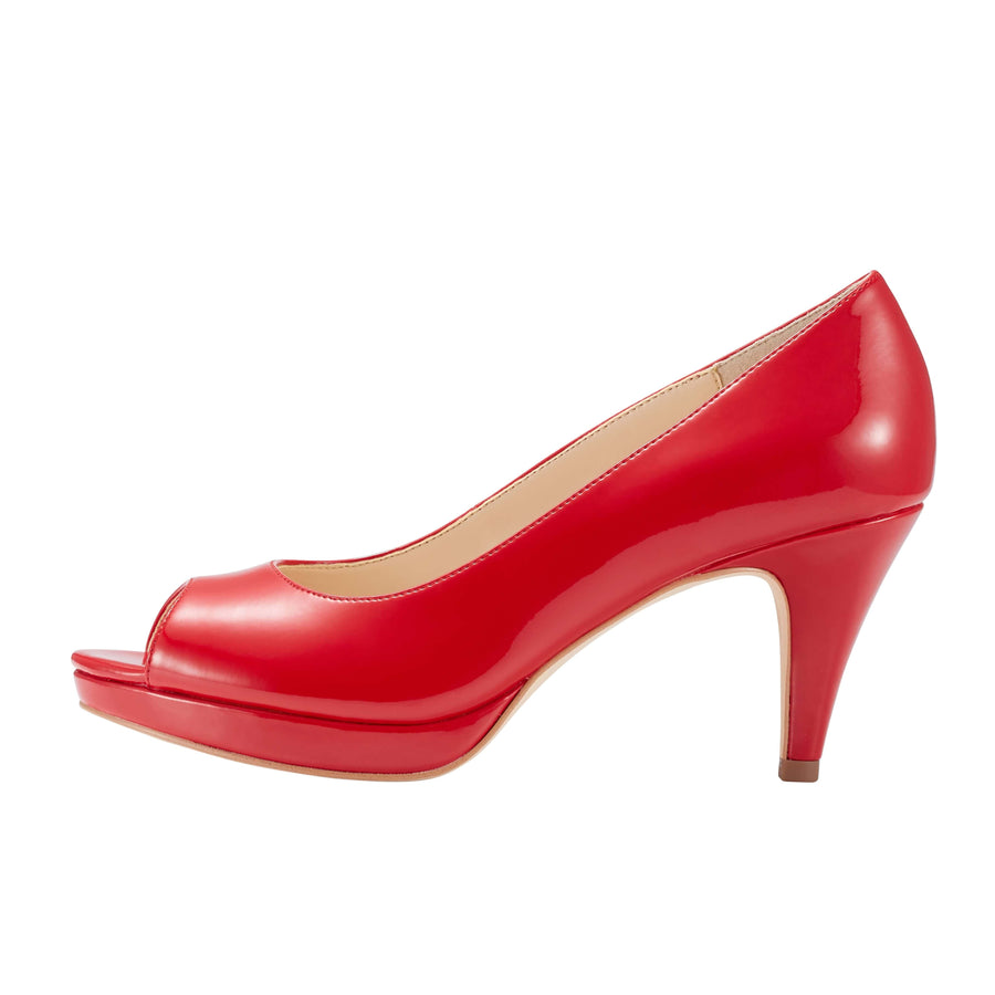 Asteria Peep Toe Pump Red