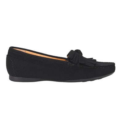 Tassel Trim Dockside Shoes Black