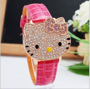 HELLO KITTY cz stone womans flip watch ships free in 3-5 days - HW-WATCHEZ HWWATCHEZ.COM