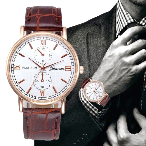 Geneva platinum gold tone business casual mens watch ships free in 3-5 days - HW-WATCHEZ HWWATCHEZ.COM
