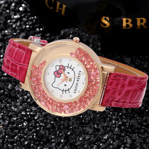Hello Kitty gold tone pink ice womans watch ships free in 3-5 days - HW-WATCHEZ HWWATCHEZ.COM