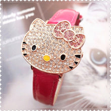 Load image into Gallery viewer, HELLO KITTY cz stone womans flip watch ships free in 3-5 days - HW-WATCHEZ HWWATCHEZ.COM