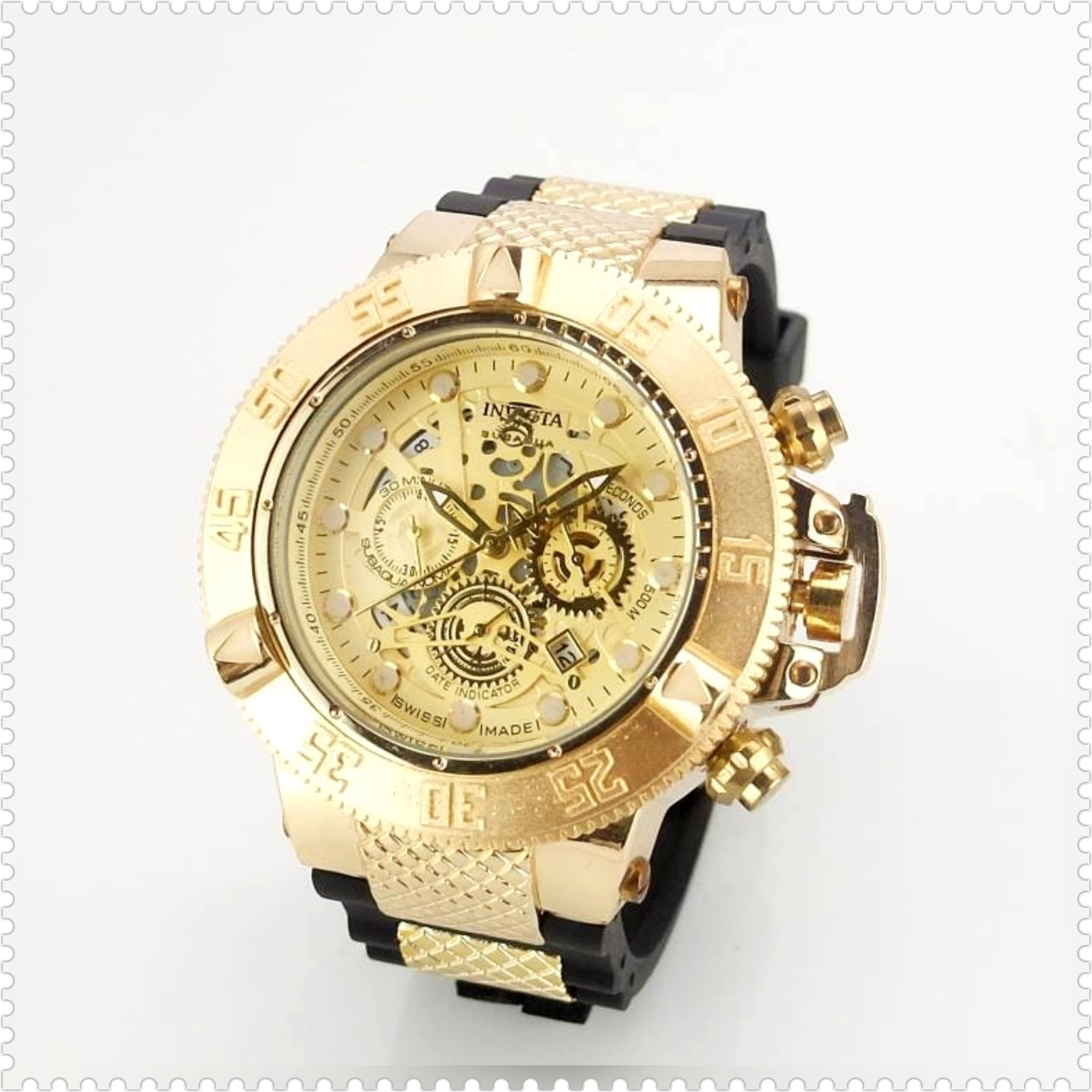 Invicta Sub Aqua Gold Tone Silicone Band Mens Watch Ship Free - HW-WATCHEZ HWWATCHEZ.COM