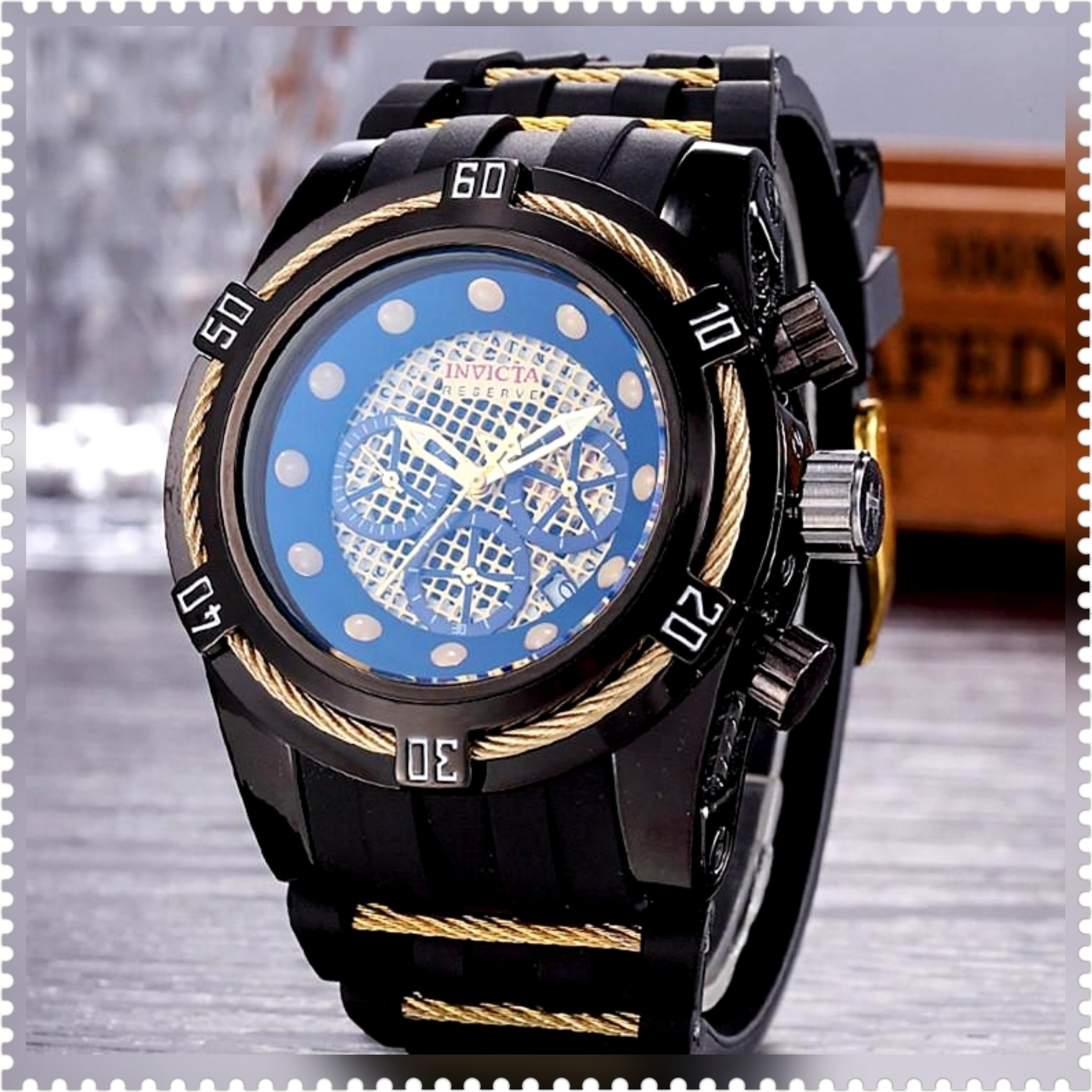 Invicta Reserve Gold Trim Stainless Steel Waterproof Mens Watch Ships Free - HW-WATCHEZ HWWATCHEZ.COM