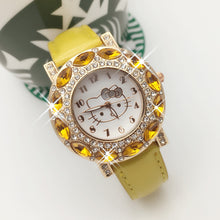 Load image into Gallery viewer, Hello Kitty yellow & clear cz stone womans watch ships free in 3-5 days - HW-WATCHEZ HWWATCHEZ.COM