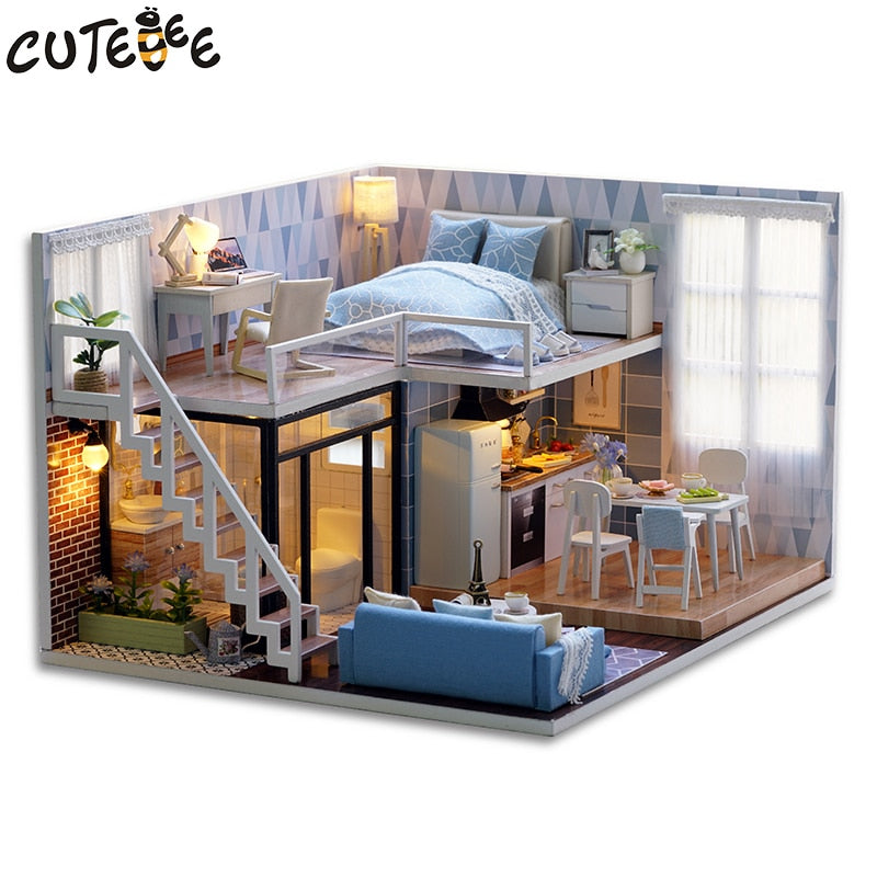 Q002 Diy Wooden Doll House Living Room With Furniture Model Building Kits 3d Miniature Dollhouse Toy Latest Fashion Toys & Hobbies