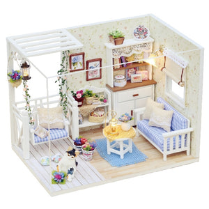 Two Paragraphs Doll House Furniture Diy Miniature Dust Cover 3d Wooden Miniaturas Dollhouse Toys For Gifts h016 h015