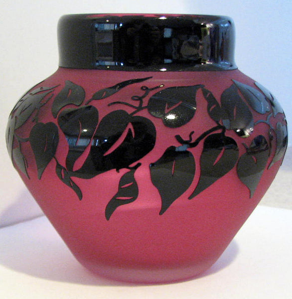 Art Glass Vase Hand Blown Ruby Black Vines