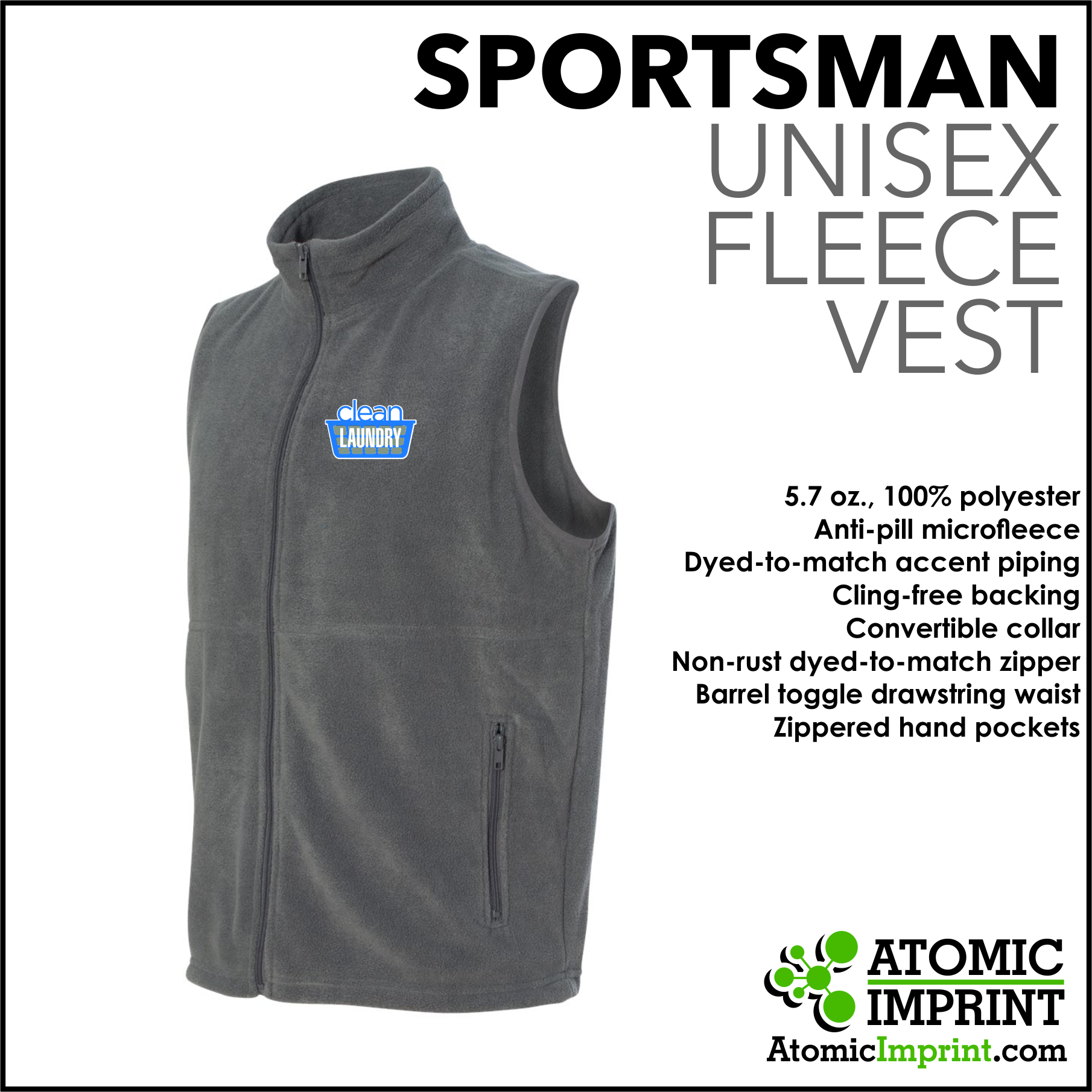 Clean Laundry Unisex Fleece Vest