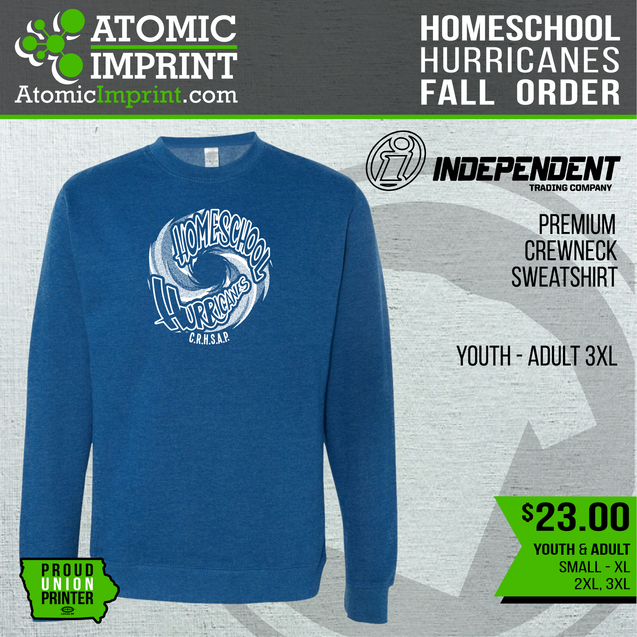Homeschool Hurricanes - Premium Crewneck Sweatshirt