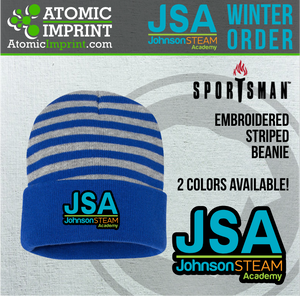 2019 JSA - Striped Knit Beanie with Embroidered Logo