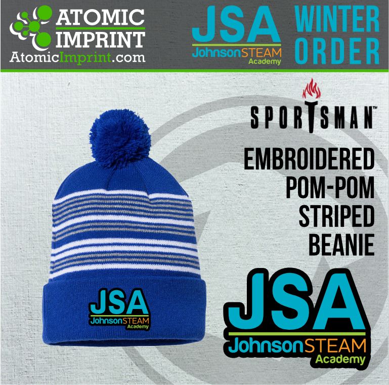 2019 JSA - Pom-Pom Striped Knit Beanie with Embroidered Logo