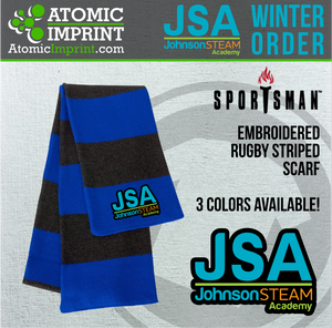 2019 JSA - Rugby Striped Knit Scarf with Embroidered Logo