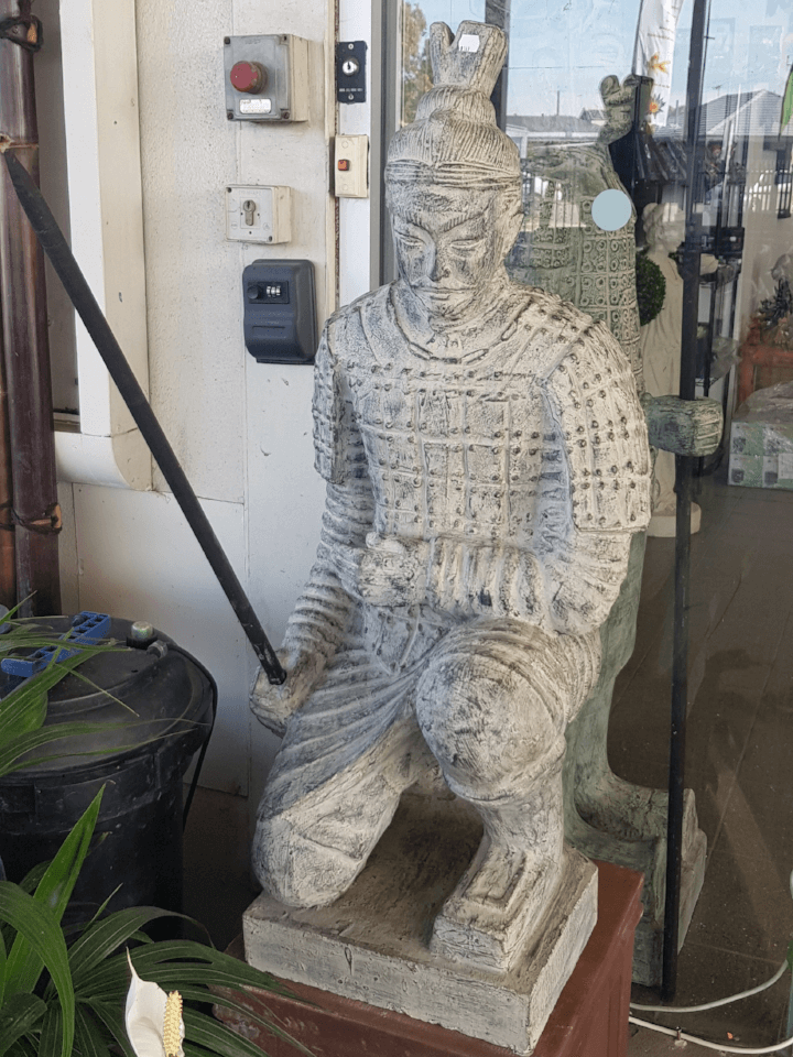 Bali Terracotta Kneeling Warrior Statue