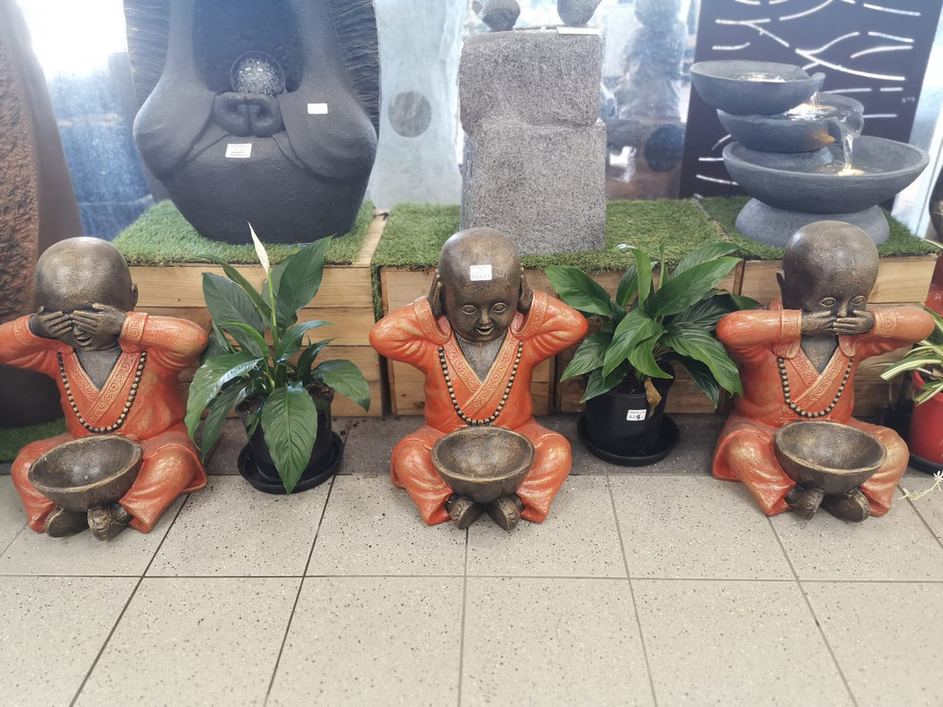 price for set of 3. Monk no see/hear/speaking with Bowl Statue