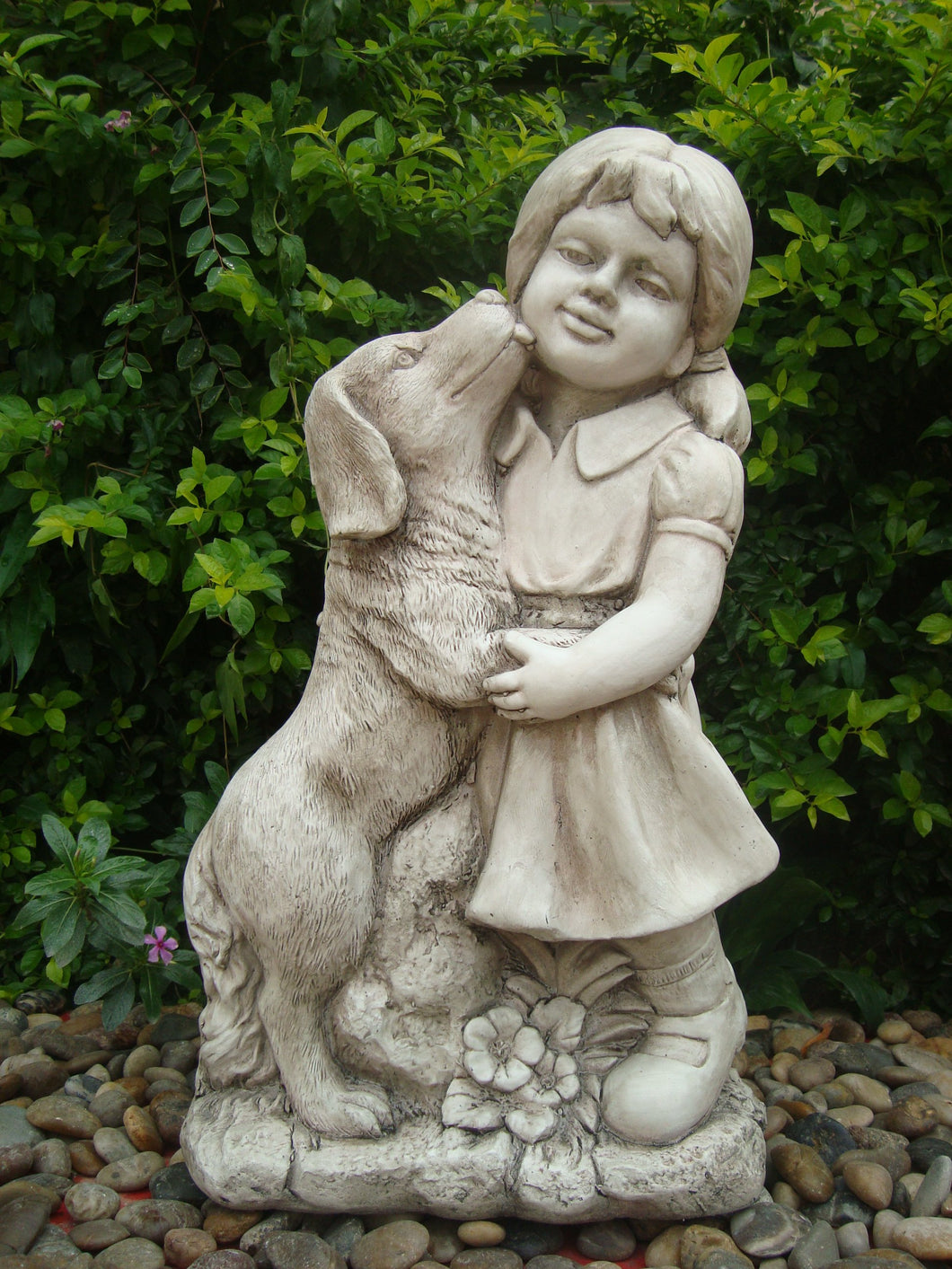 Girl with Dog Statue