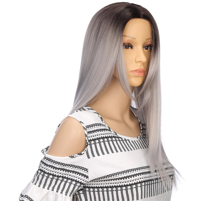 WOMEN WIG GRADIENT FASHIONABLE LONG STRAIGHT HEAT RESISTANT NATURAL WIG
