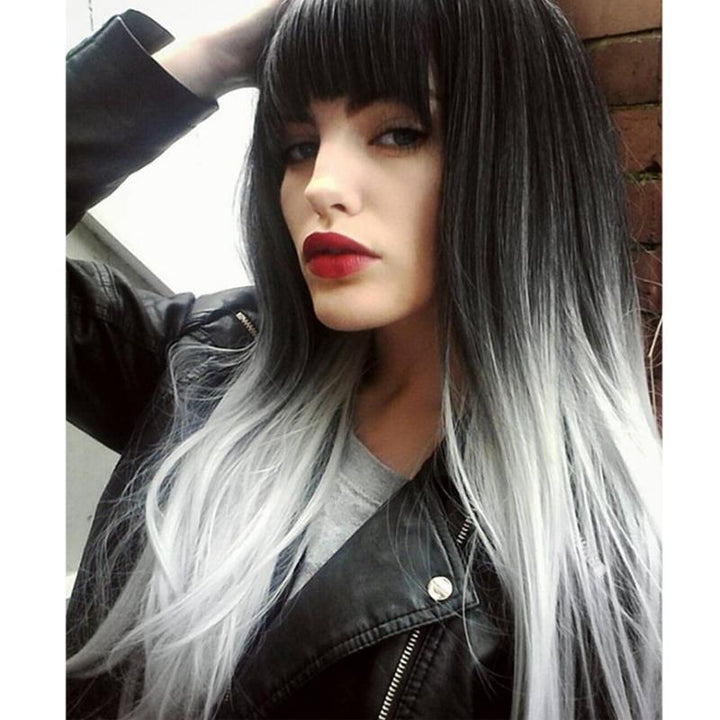 LONG STRAIGHT OMBRE GRAY HEAT RESISTANT SYNTHETIC TWO TONE WIGS