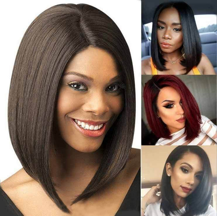 STRAIGHT BOB INDIAN VIRGIN HAIR FRONT LACE WIGS PWFU