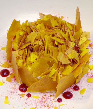 Lemon Verbena Mousse with Saffron Flakes