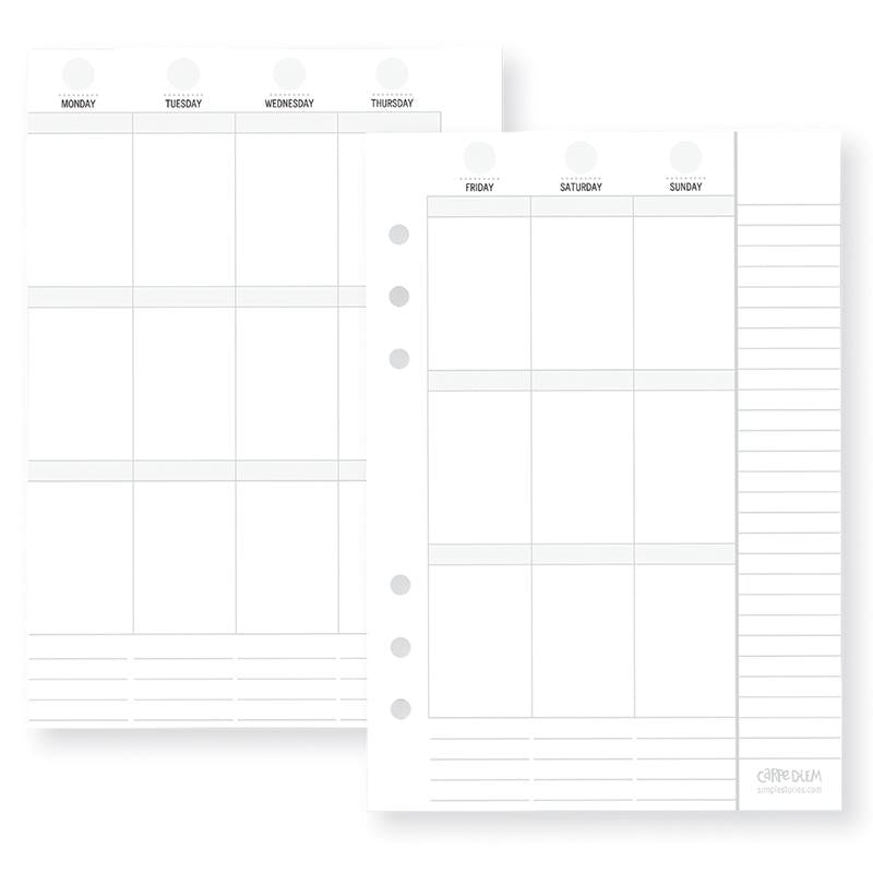 Vertical Weekly A5 Planner Inserts