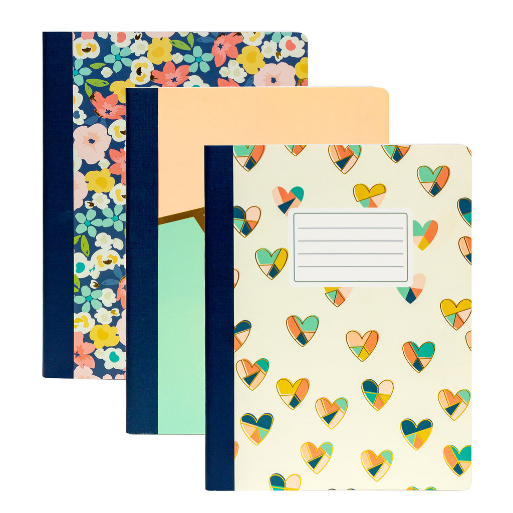 Floral Love Composition Books 3-pack