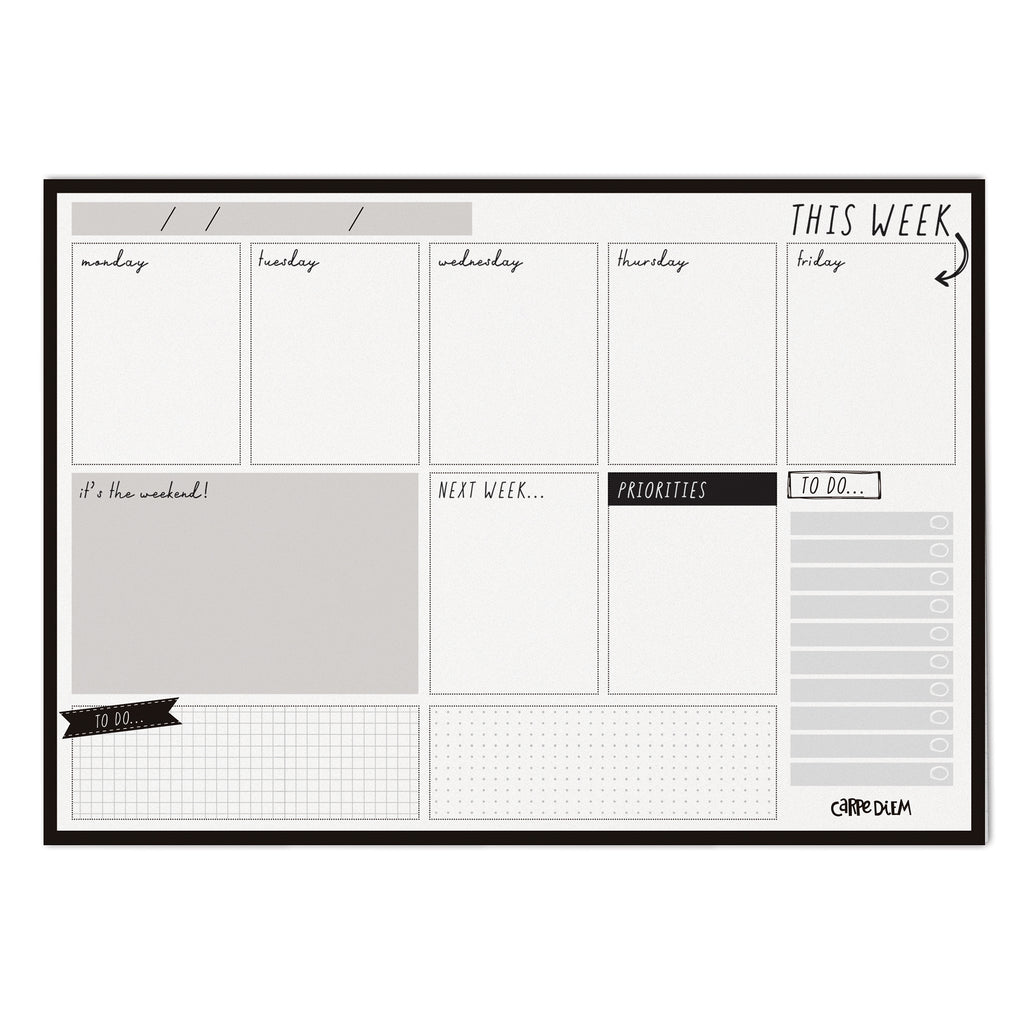 Black Weekly Planner Pad
