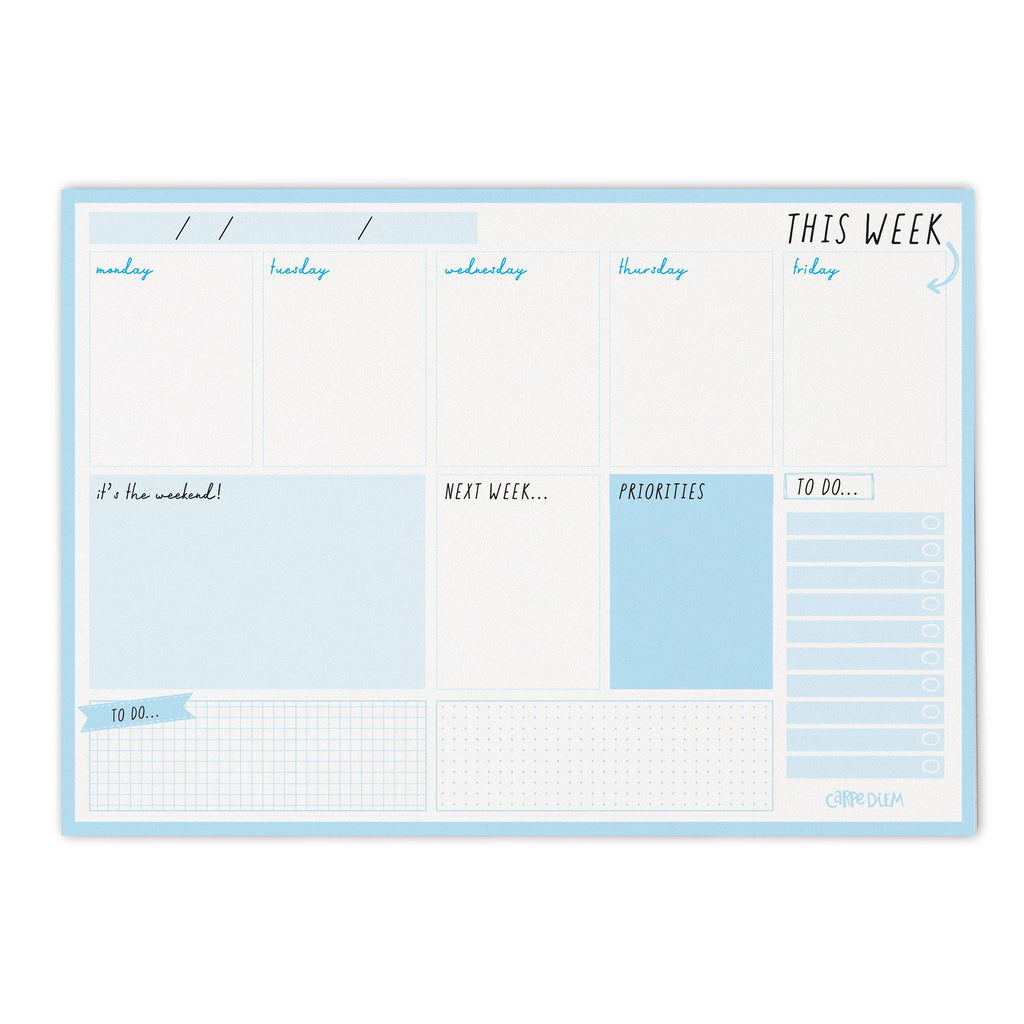NEW Sky Blue Weekly Planner Pad