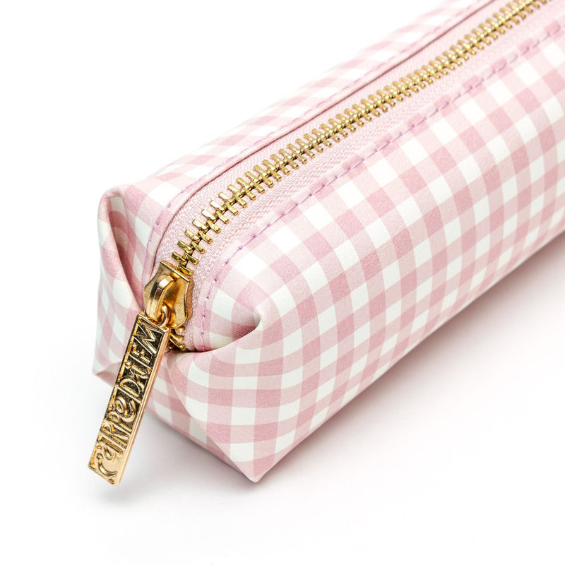 NEW Ballerina Pink Check Slim Pencil Case