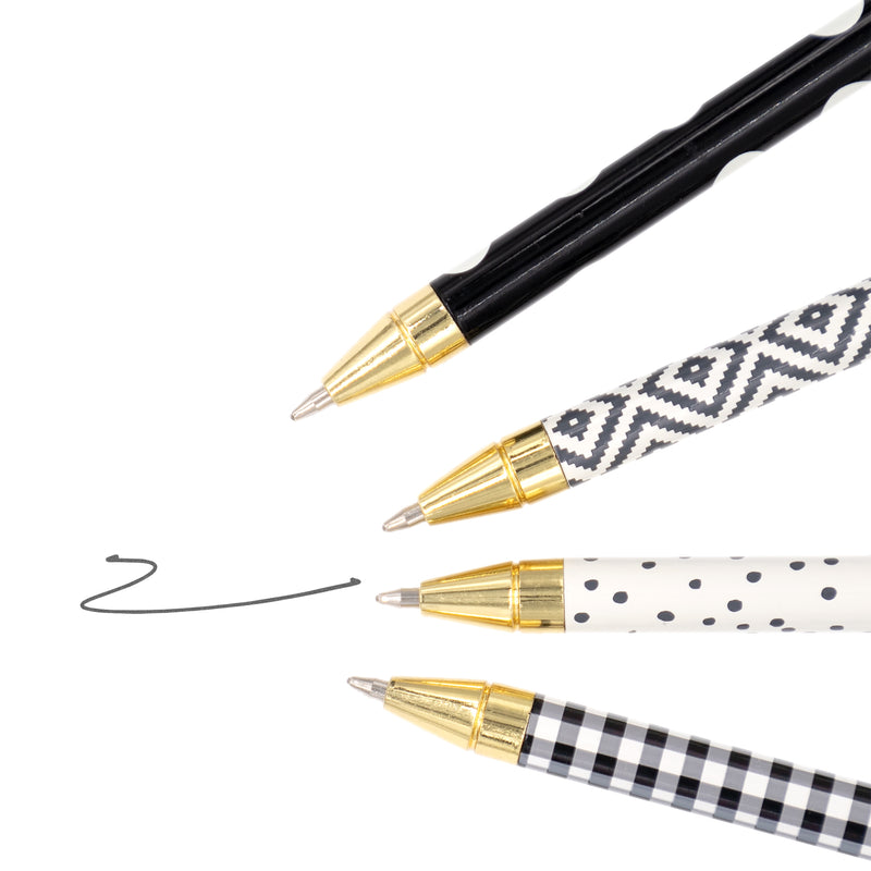 Monochrome Ball Point Pen 4 Pack